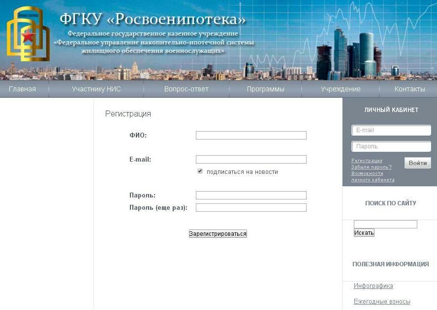Форма регистрации Личного кабинета в федеральной ипотечной программе «Росвоенипотека».