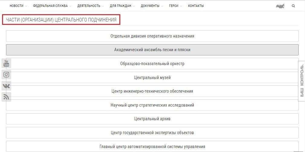 Структура подпункта «Части (организации) центрального подчинения» меню «Федеральная служба»